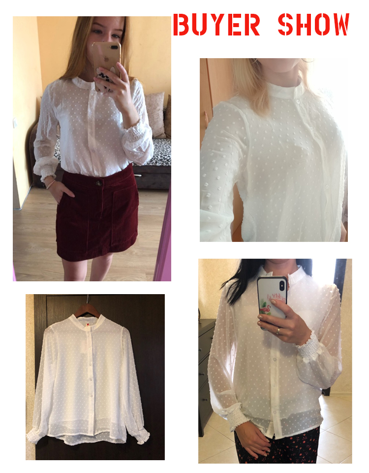 19 New arrived women shirt sweet female V collar wave point long-sleeved suntan women blouse Korean style OL blusa 0974 30 6