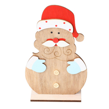 Christmas Wooden Santa Claus Cartoon DIY Crafts Tabletop Decoration Innovative Ornaments Decorations for Home New Year