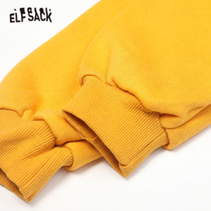 Image 4 - ELFSACK Yellow Cartoon Print Casual Pullover Sweatshirt Women Clothes 2020 Spring New Long Sleeve Ladies Korean Daily Work Tops