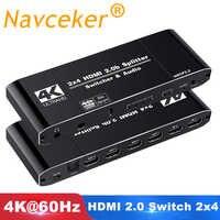 2020 4K 60Hz HDMI 2,0 interruptor remoto 2x2 HDR interruptor HDMI Audio Extractor con IR 2x4 YUV 4:4:4 interruptor HDMI 2,0 para PS4 Apple TV