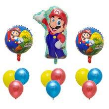 1 セットスーパーマリオ風船 18 インチラウンド風船少年少女の誕生日パーティーマリオルイージブラザーズマイラー青赤バルーンセット装飾