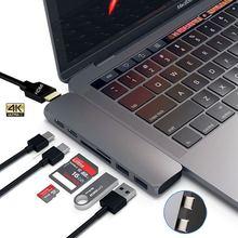 "USB C רכזת סוג C Thunderbolt 3 מתאם USB C Dock Dongle עם HDMI 4k פ""ד USB 3.0 SD TF כרטיס קורא עבור MacBook Pro 13 15"