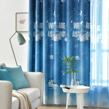 Cartoon Curtains Boy Children's Bedroom Shade Fabric Astronaut Universe Starry Sky Planet Curtain for Living Room Window(China)