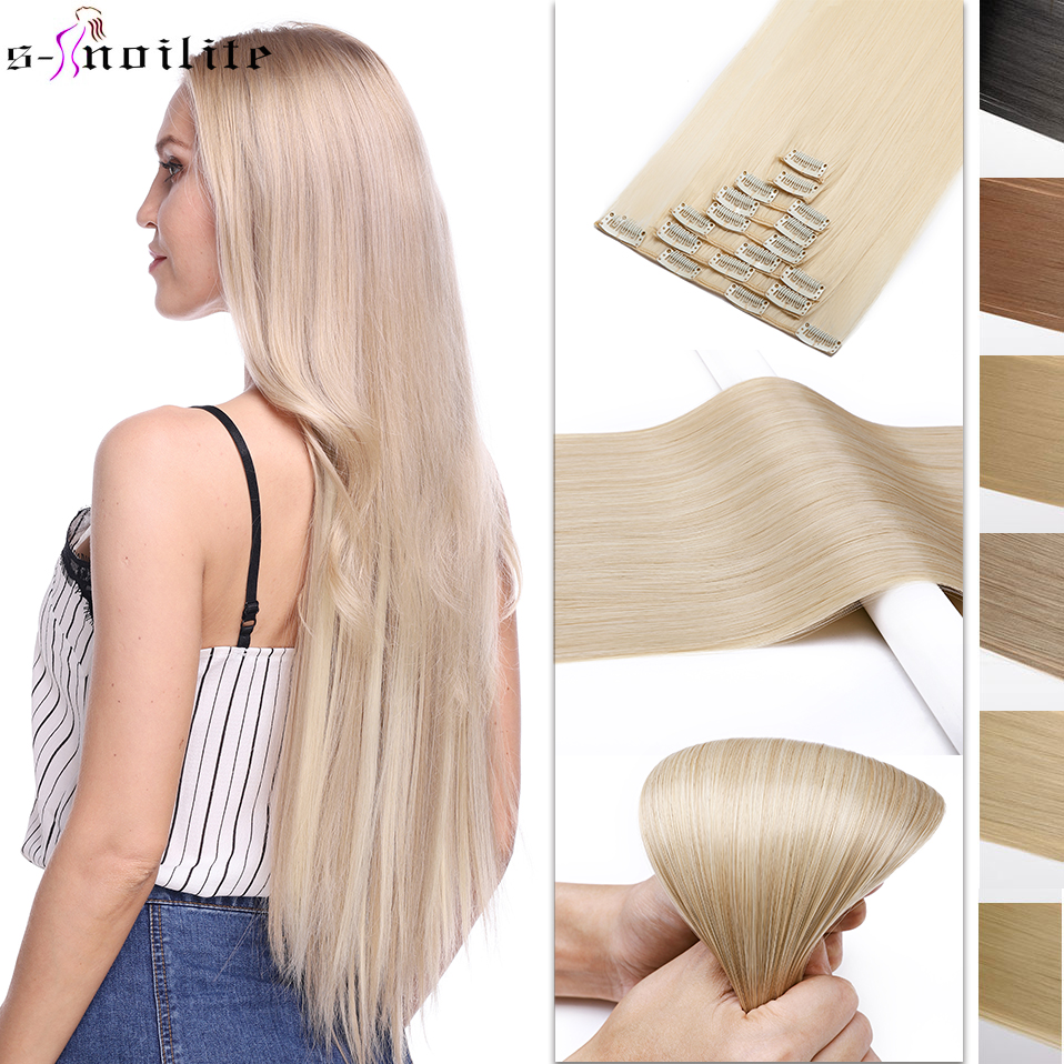 SNOILITE 23inch Straight 18 Clips In Hair Styling Synthetic Hair Extensions 8pcs/set Clip In One Piece Hairpieces Christmas Gift