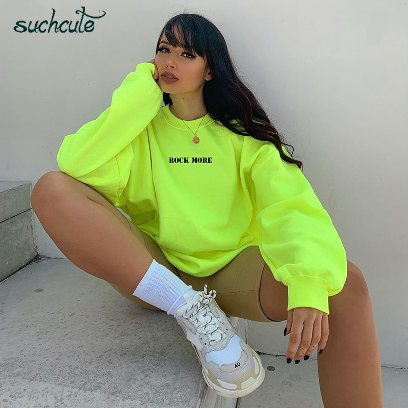 SUCHCUTE Women's Hoodies Neon Green Casual Lose Weight Hoody Top Sudadera Mujer Kpop O-Neck Autumn 2019 Female Gothic Sweatshirt