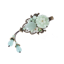 Ancient style coloured glaze Hairpin Hair Jewelry Enamel Barrettes Aventurine Hair Accessories Ornaments Ethnic Head Clip цена и фото