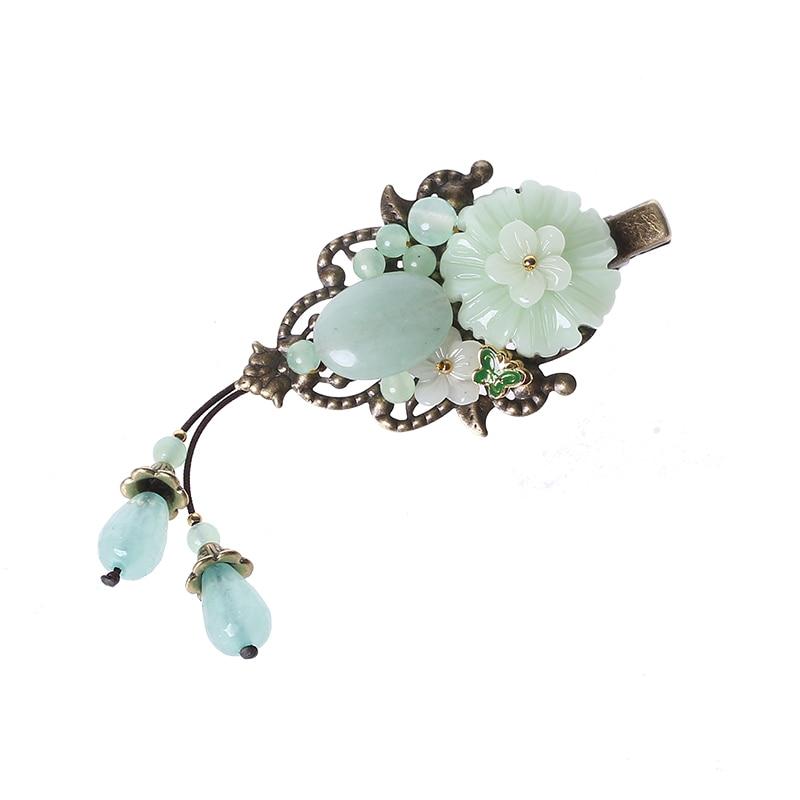 Style ancien glaçure colorée épingle à cheveux bijoux émail Barrettes Aventurine cheveux accessoires ornements ethnique tête Clip