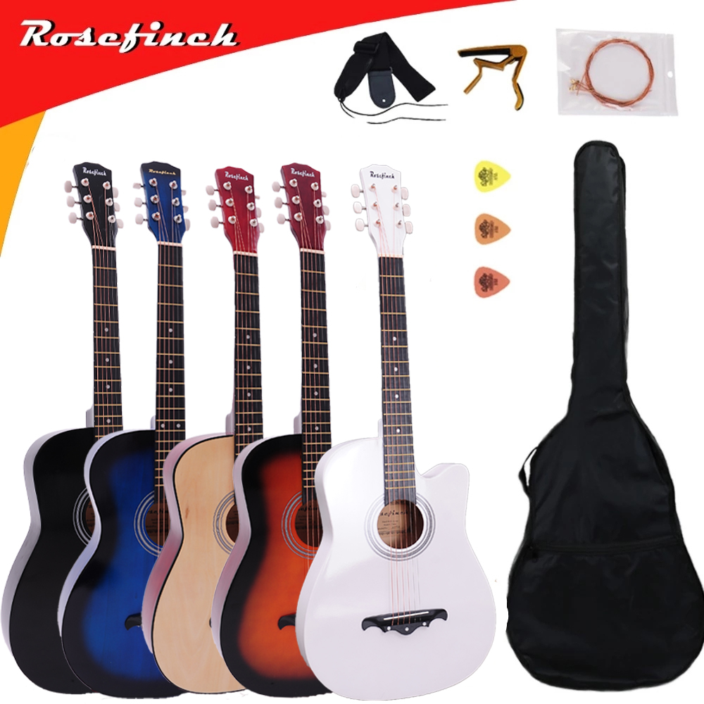 41/38 Inch Acoustic Guitar For Beginners Guitar Sets With Capo Picks 6 Strings Guitar Basswood Musical Instruments AGT166