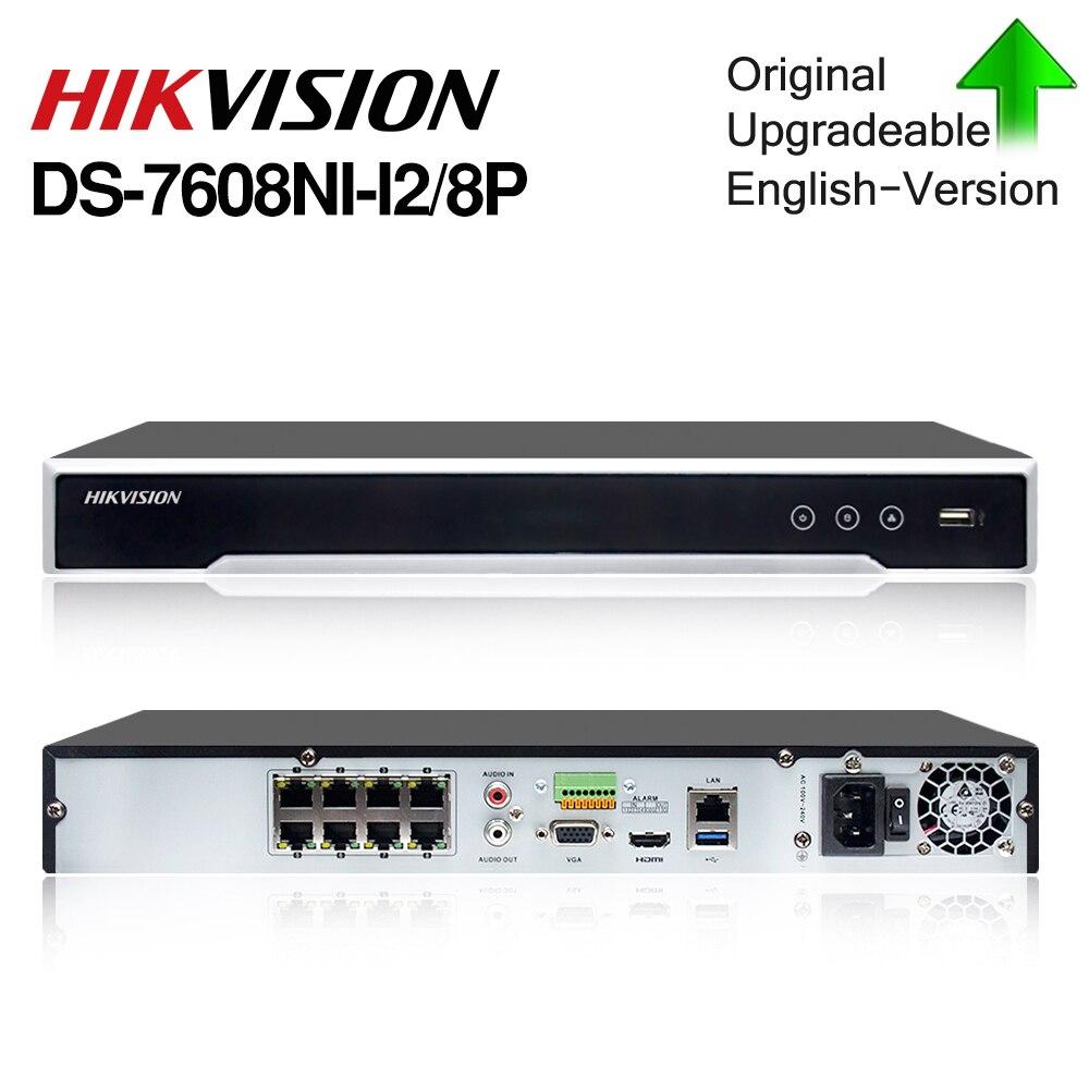 Caméra de sécurité Hikvision Original NVR DS-7608NI-I2/8 P 8CH 8 POE NVR pour caméra POE 12MP Max 2 enregistreur vidéo réseau SATA.