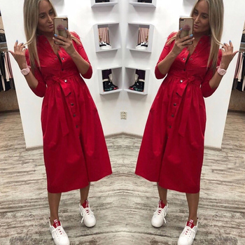 Women Vintage Front Button Sashes Party Dress Three Quarter Sleeve Turn Down Collar Solid Dress 2019 Autumn New Fashion Dress 6
