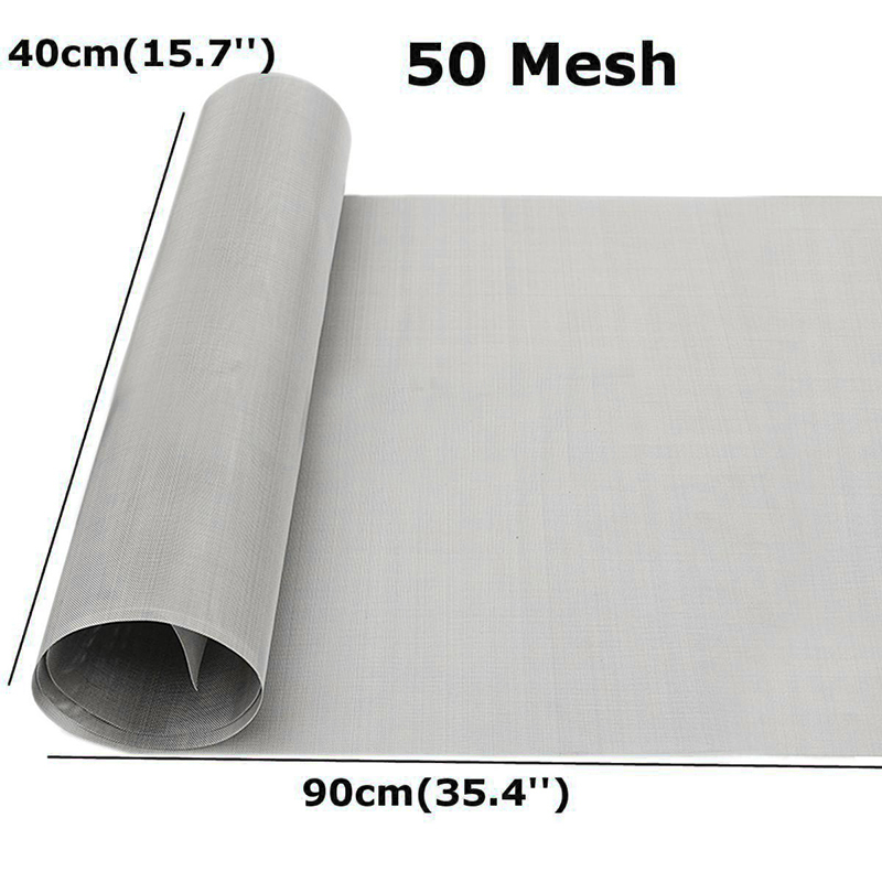 Mesh Filter 50 304 Stainless Steel Wire Cloth Woven Silver Screen 40x90cm Silver