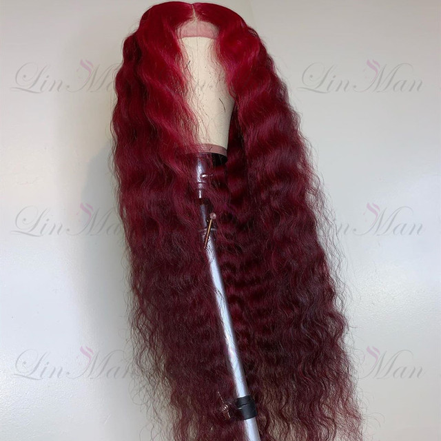 13×6 Dark Red&Wine Red Color Lace Front Human Hair Wig Remy Brazilian Deep Wave Hair Ombre Lace Wig for Women 4