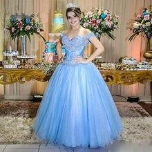 15 anos azul vestido de baile quinceanera vestidos com contas longo azul fora do ombro appliquestulle meninas vestido de festa