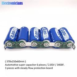 Super Farad Capacitor 6PCS/Set 2.85V 3400F Farad Capacitor Module 17V 566F Single Row Ultracapacitor w/ Protection Board for Car