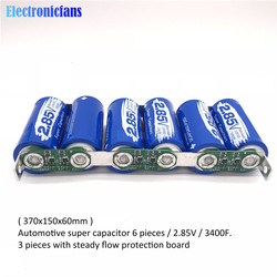 Super Farad Condensator 6 Stks/set 2.85V 3400F Farad Condensator Module 17V 566F Enkele Rij Ultracapacitor W/Bescherming board Voor Auto