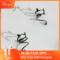 Thaya 100% 925 Sterling Silver Lazy Black Cat Clip Earrings Non Piercing Simple Cute Ear Cuff for Women Circle Ear Fine Jewelry