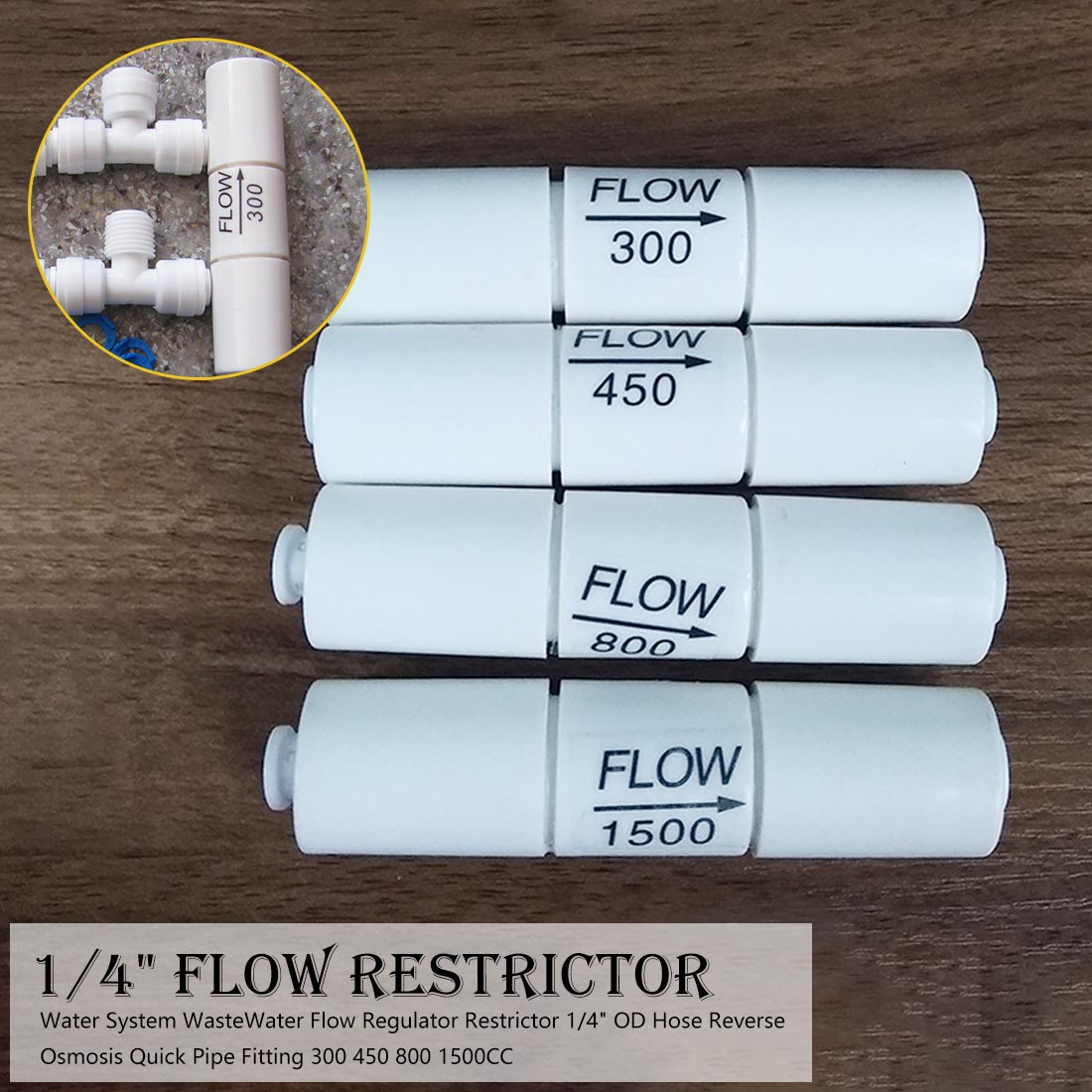 Hose Reverse Osmosis WasteWater Flow Regulator Restrictor 1/4