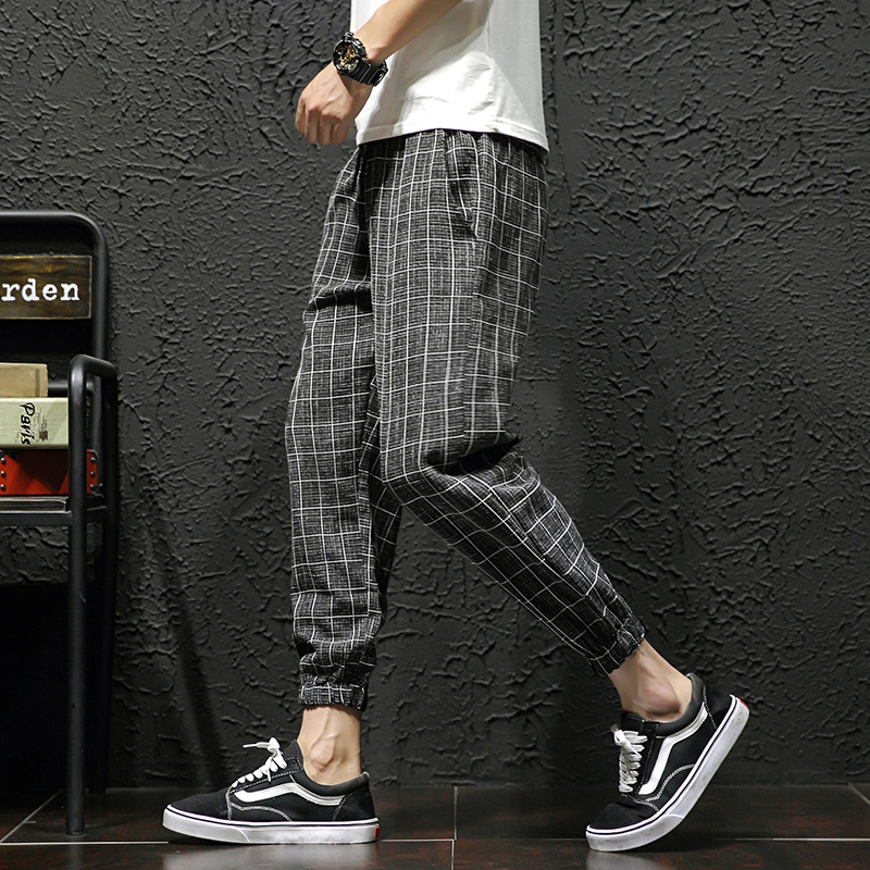 Plaid Pants Men's Fashion Retro Casual Joggers Pants Men Drawstring Sweatpants Streetwear Loose Hip Hop Pants Mens M-5XL