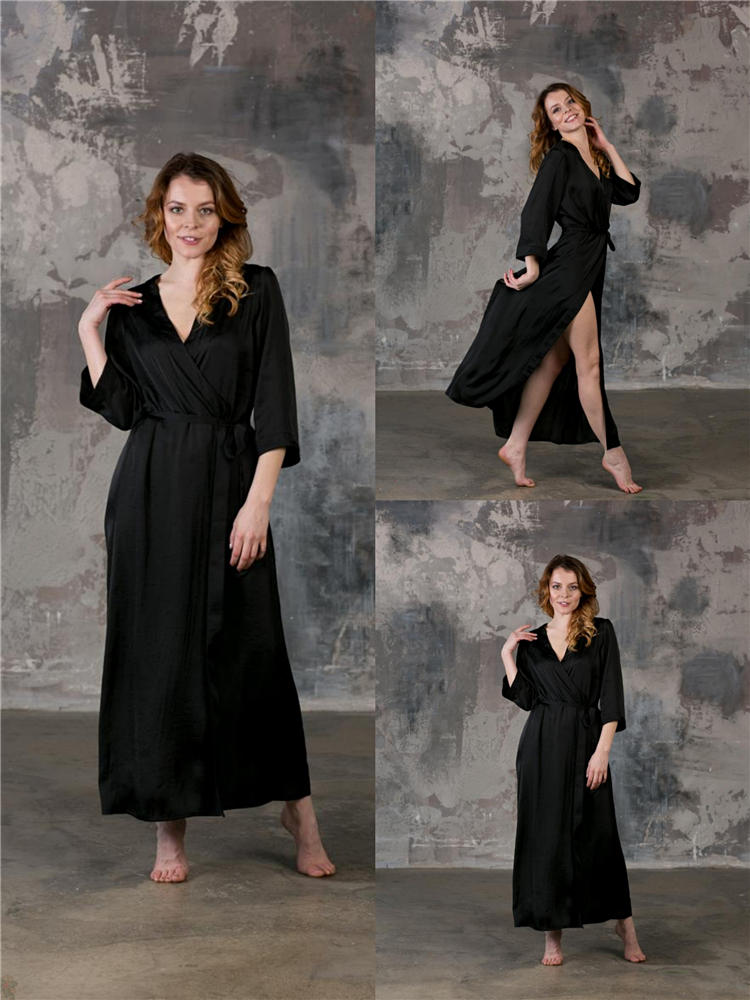 Sexy Solid Black V-Neck Ladies Tencel Nightwear Graceful There Quarter Housewear Bathrobe Sized S-6XL