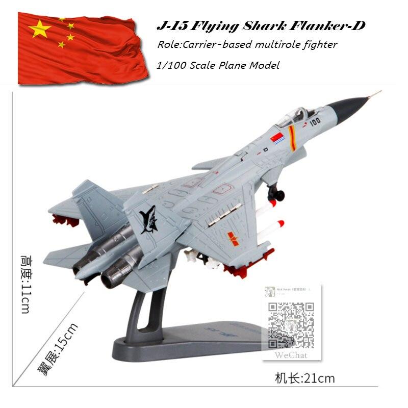 Terebo 1/100 Échelle Chine Shenyang J-15 Requin Volant Flanker-X2 Combattant Moulé Sous Pression En Métal Militaire Avion Modèle Jouet Pour Collection