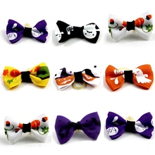 10pcs/set Halloween Dog Bows Pumpkin Skull Dog Pet Hair Bows Pet Bows For Small Dog Holiday