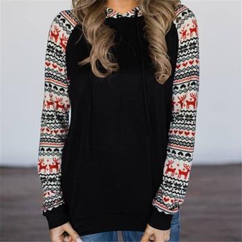 Hoodies Women Long Sleeve Sweatshirts And Sweatshirt Pullover Deer Print Womens Hooded Top