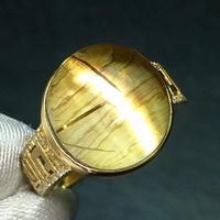Fine Jewelry Real 18K Gold Natural Rutilated Quartz 11.5ct Gemstone Diamonds Female Anniversary Gift Fine Rings