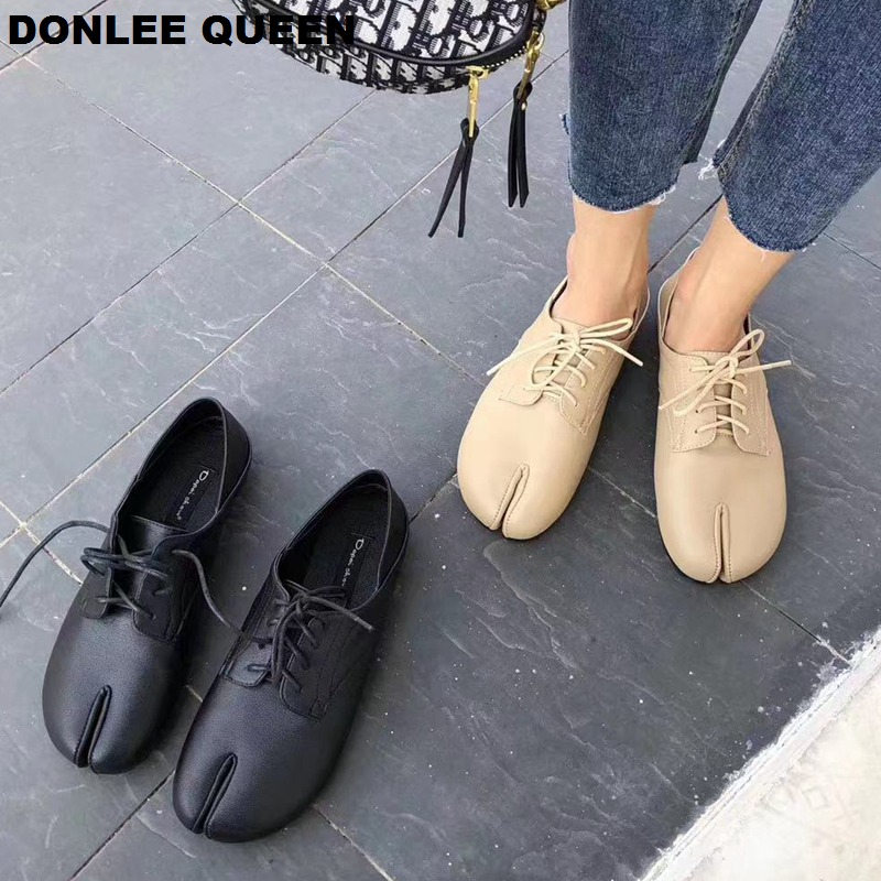 Fashion Brand Split Toe Oxford Shoes Women Flats Loafers Lace Up Casual For Sneakers Ladies  zapatos de mujer