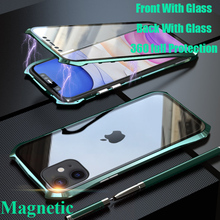Magnetic Case For iphone 11 Pro Max 360 Front+Back double-sided 9H Tempered Glass for 2019 Metal Bumper