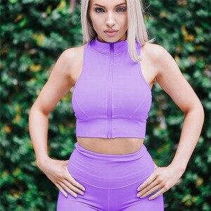Image 2 - GXQIL Workout Sport Clothes for Women Sportswear 2020 Sport Gym Set Women Fitness Suit Dry Fit Ensemble Sport Femme Purple Kit