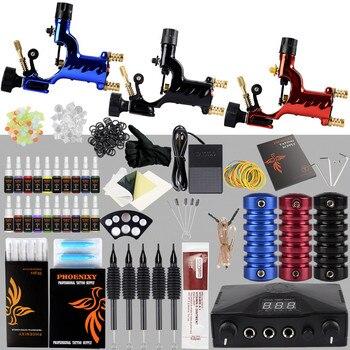 Professional Tattoo Kit 3 Rotary Machine Gun Set 20 Colors Ink Pigment Set LCD Power Supply Tattoo Accessories Tattoo Set