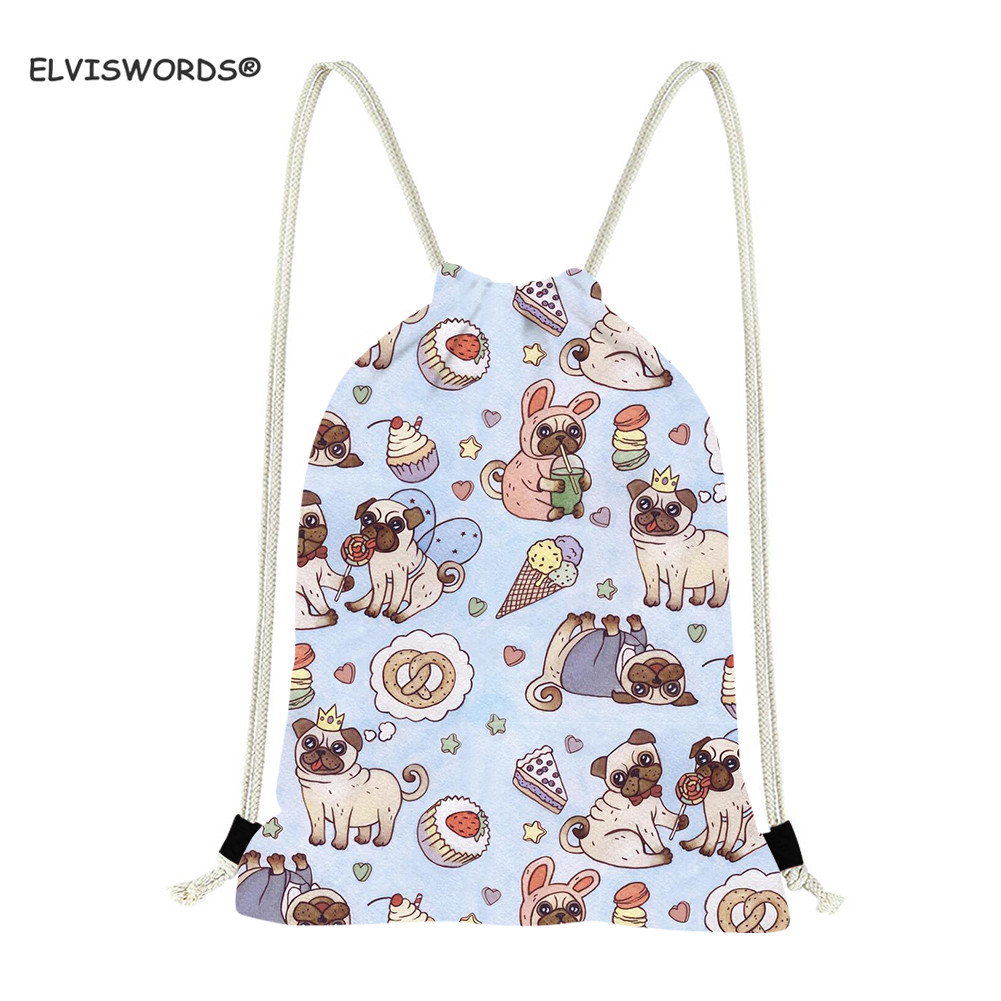 ELVISWORDS Cartoon Puppy Print Drawstring Bag Cute Fat Pug Backpacks For Boys Girls Storage Bag Kids School Bag Women Yoga Bag