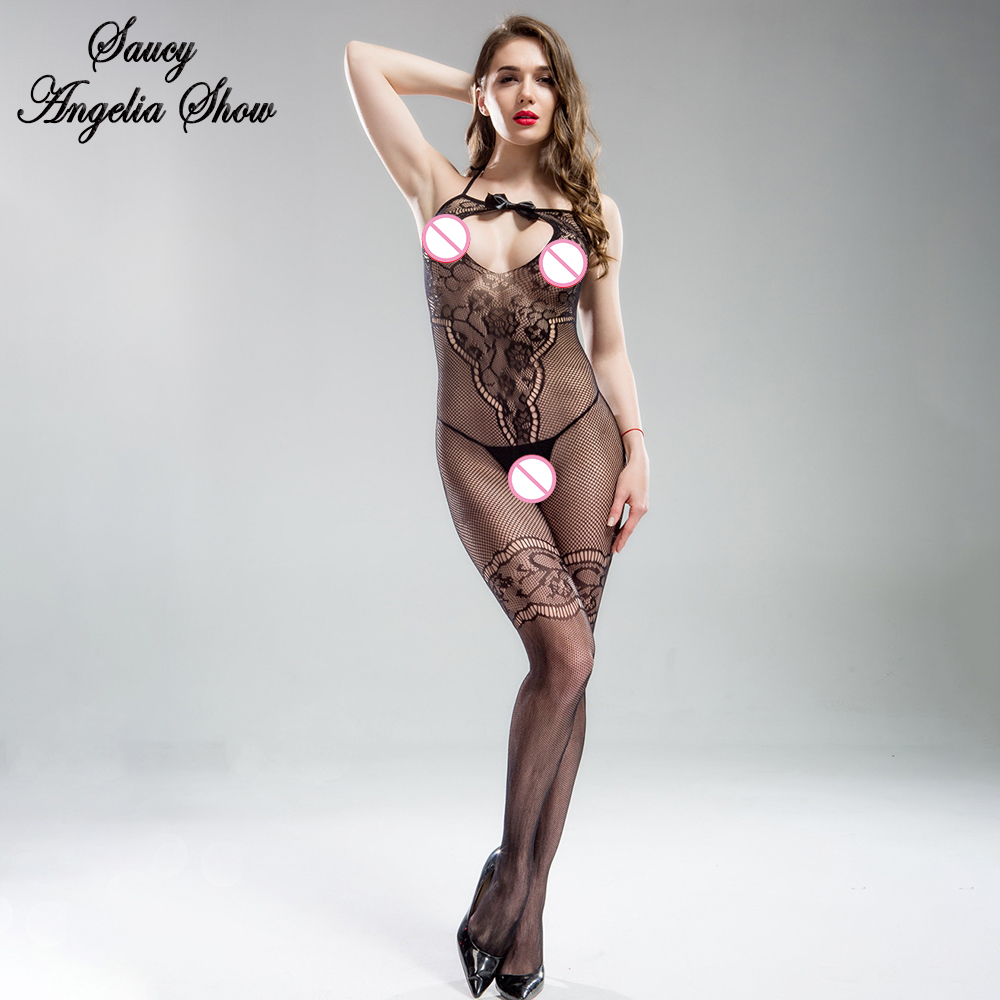 Hot Sexy Women Bodysuit Jacquard Fishnet Temptation Erotic Fetish Stripper Clothes Underwear Crotchless Bodystocking Lingeries