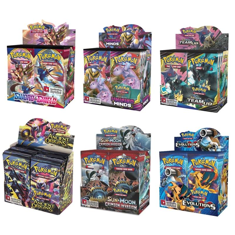 324 adet/kutu Pokemon kartları yeni GX EX kılıç & kalkan güneş ve ay İngilizce ticaret kartı parlayan oyun sürümleri 36 paketi koleksiyonu oyuncaklar