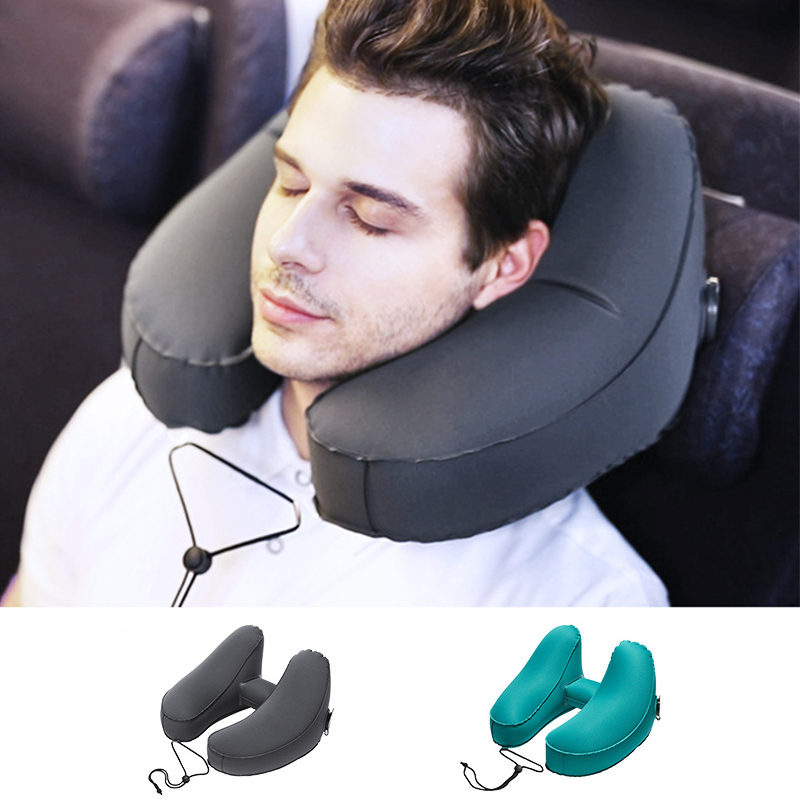 Almohada inflable de TPU con forma de H para viaje, cojín de aire, almohada Plegable ligera para el cuello, asiento de coche, oficina, avión, cojín para dormir