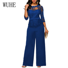 WUHE High Quality Lace Patchwork Jumpsuit Women Elegant O Neck Hook Flower Formal Wide Leg Playsuits Laides Party Overalls
