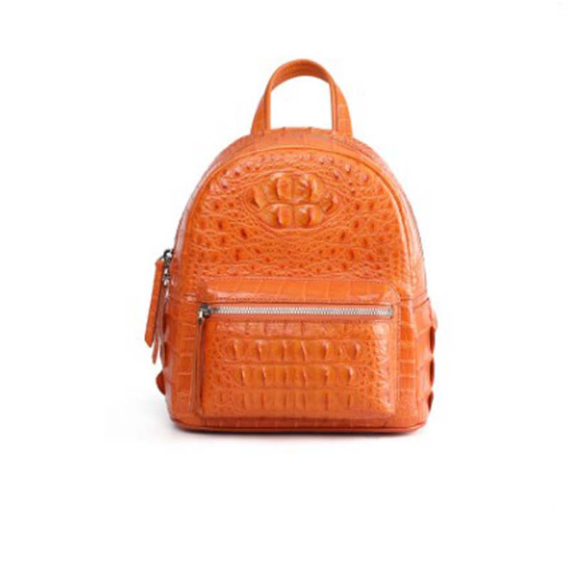 Dongou Siam  Crocodile  Female Bag  Genuine Leather Men Backpack   Crocodile Head  Back Bone Skin  Travel Bag  Fashion  Backpack