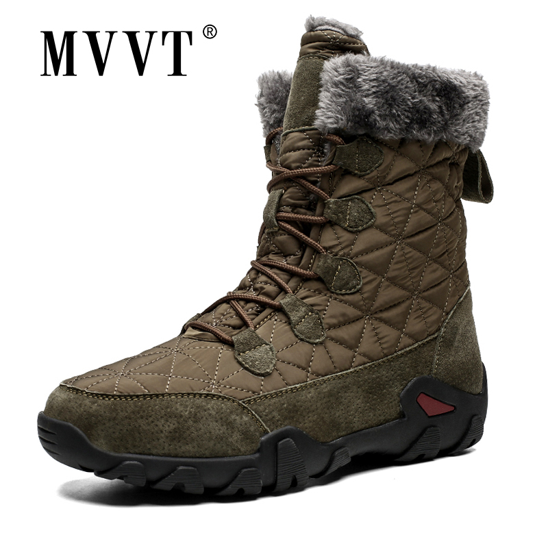 Plus Size Genuine Leather Boots Men Snow Boots Outdoor Super Warm Winter Men Boots High Mid-Calf Keep Warm Botas Hombre