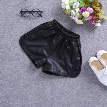 PU Leather Shorts for Kid Girls Winter Thick Fleece Lining Faux Leather Short Children Casual Solid High Waist Elastic Bottom 4