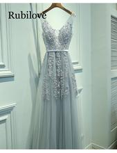 Rubilove Sexy V-neck dress 2019 high quality grey tulle with applique real photo