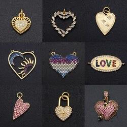 Fabulous Diy Heart CZ Charms Wholesale Lock Key Necklace Pendant Zircon Love Pin Connector For Jewelry Star Bracelet Making