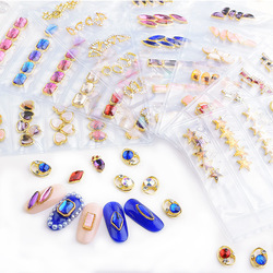 1 bag 30 pcs/6 Design, 10x8mm 3D Gold frame glaring nail decoration/ exclusive luxury star dangle charm jewelry nail supply