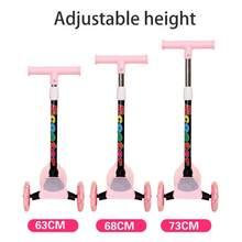 Trotinette ajustável do pontapé das crianças de 3 rodas com rodas de piscamento para crianças envelhecidas 2 a 8