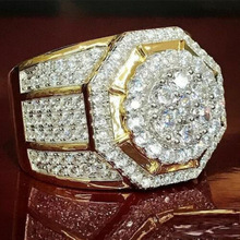 Luxury Bling Bling Rhinestone Iced Out Rings for Men Hexagon Hip Hop Gold Rings Male Wedding Band Rings Lover Jewelry Gifts