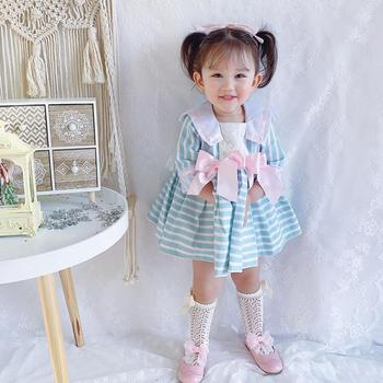 Spanish Lolita Navy Style Girls dress Lace Stitching Sweet cute Striped Tutu dress for girls birthday party Gown vestidos Y2909