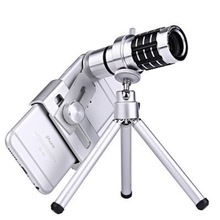 Silver Monocular Binoculars 12x Zoom Telescope Outdoor Sports Mobile Support with Vision Watching Travelling