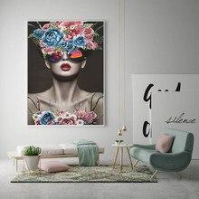 Modello di moda con corona floreale e occhiali da sole Gioia Poster Canvas Art Beauty Lady immagine da parete pittura moderna decorazione domestica