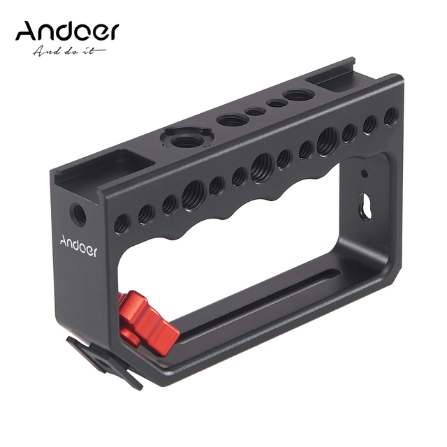 Andoer Camera Cage Cameras Rig Handle Video Stabilizing Rig for Camera Cage Monitor Led Video Light Microphone for DSLR Cameras