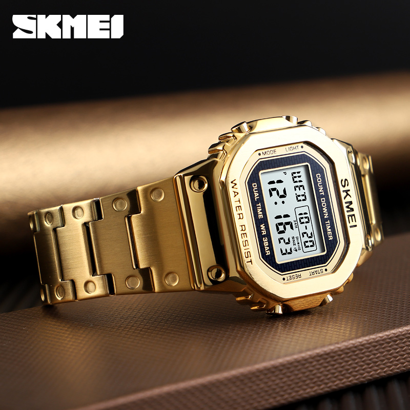 Women Chronograph Countdown Digital Watch Men Fashion Outdoor Sport Wristwatch Top Brand <font><b>SKMEI</b></font> Alarm Clock Gold Steel Watch image