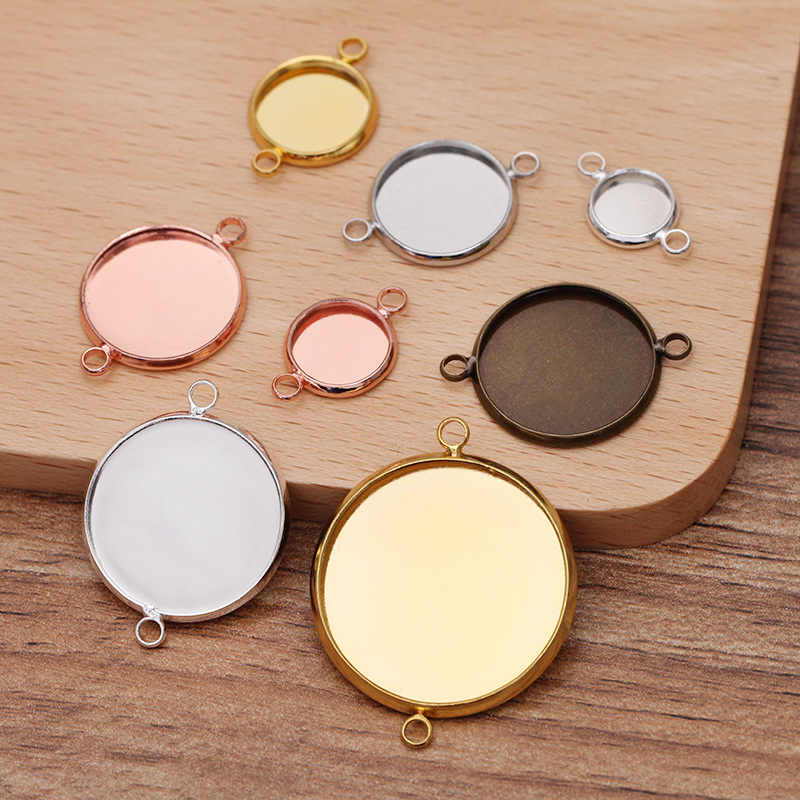 20pcs Blank Round Bezel Pendant Trays For Jewellery Finding Making Crafts